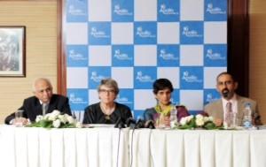 (Left to Right) Dr Narendra Trivedi, CEO, Apollo Hospitals, Navi Mumbai; Ms. Paula Wilson, CEO, JCI, USA; Dr Preetha Reddy, utive Vice Chairperson, Apollo Hospitals Group; Dr. Anupam Sibal, Group Medical Director, Apollo Hospitals Group