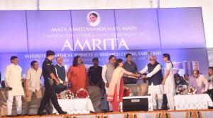Haryana Chief Minister at Amrita Hospital Faridabad Foundation Stone Ceremony