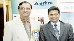 Dr Shyam Vasudeva Rao ,Founder & Director Forus Health along with K Chandrasekhar highlighted the key features of 3nethra NEO