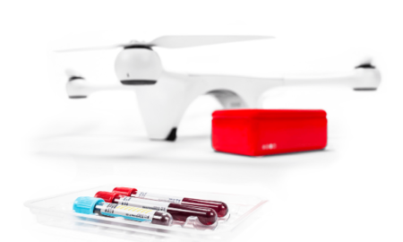 Drone carries blood sample