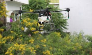 Drone to disinfectant public spaces